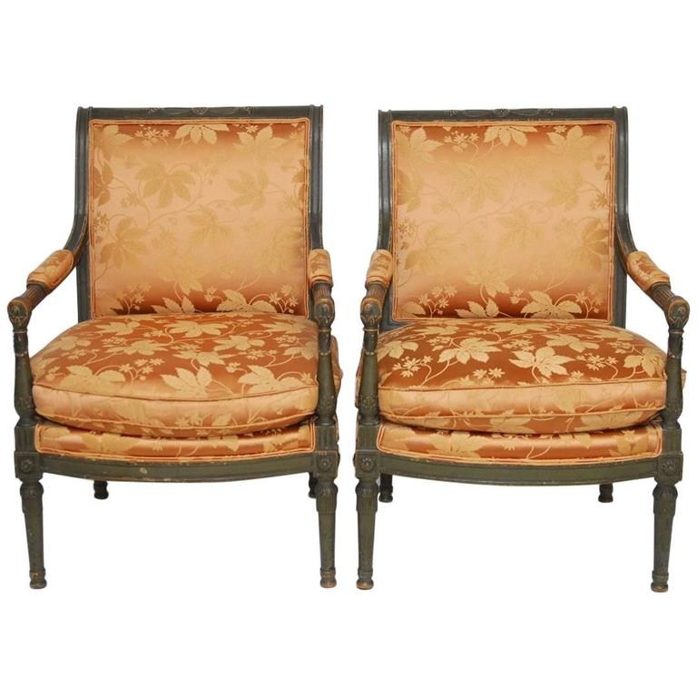 Pair of Louis XVI Painted Directoire Style Fauteuil Armchairs For Sale