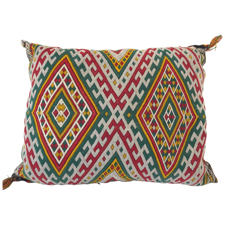 Moroccan Berber Pillow with Tribal African Designs For Sale