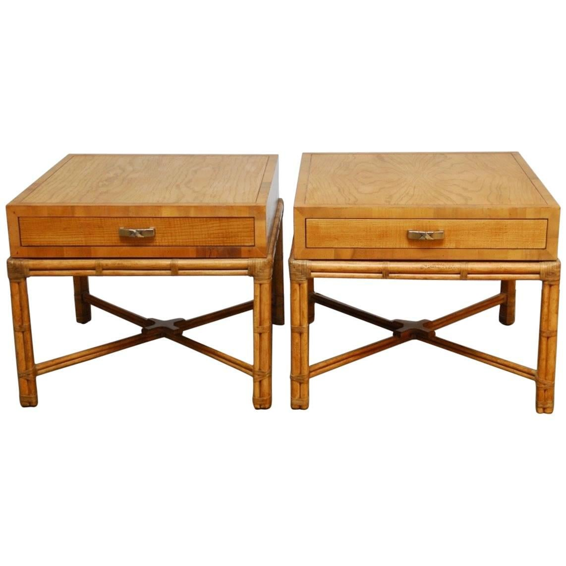 Good Pair Of Mid Century Faux Bamboo End Tables By Henredon 1
