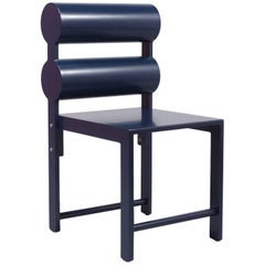 Waka Waka Contemporary Indigo Blue Lacquer Double Cylinder Dining Chair