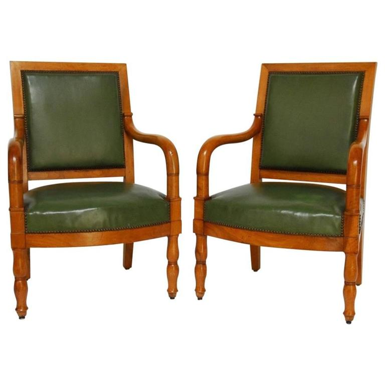 Pair of French Empire Mahogany Library Chairs For Sale