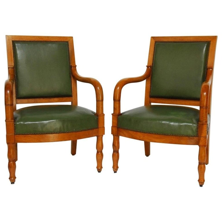 Pair of French Empire Mahogany Library Chairs