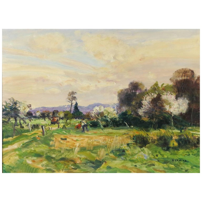Landscape with Figures by Gaston Sebire For Sale