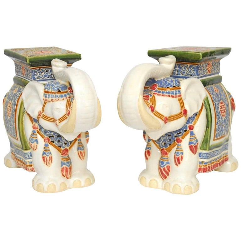 Pair Of Chinese Ceramic Elephant Garden Stools Or Drink