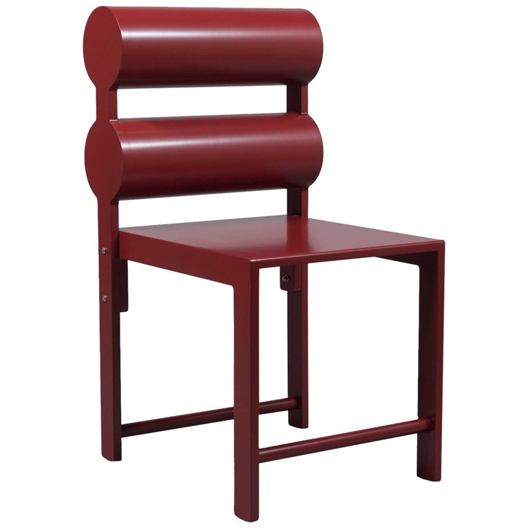 Waka Waka Contemporary Pompeii Red Lacquer Double Cylinder Dining Chair