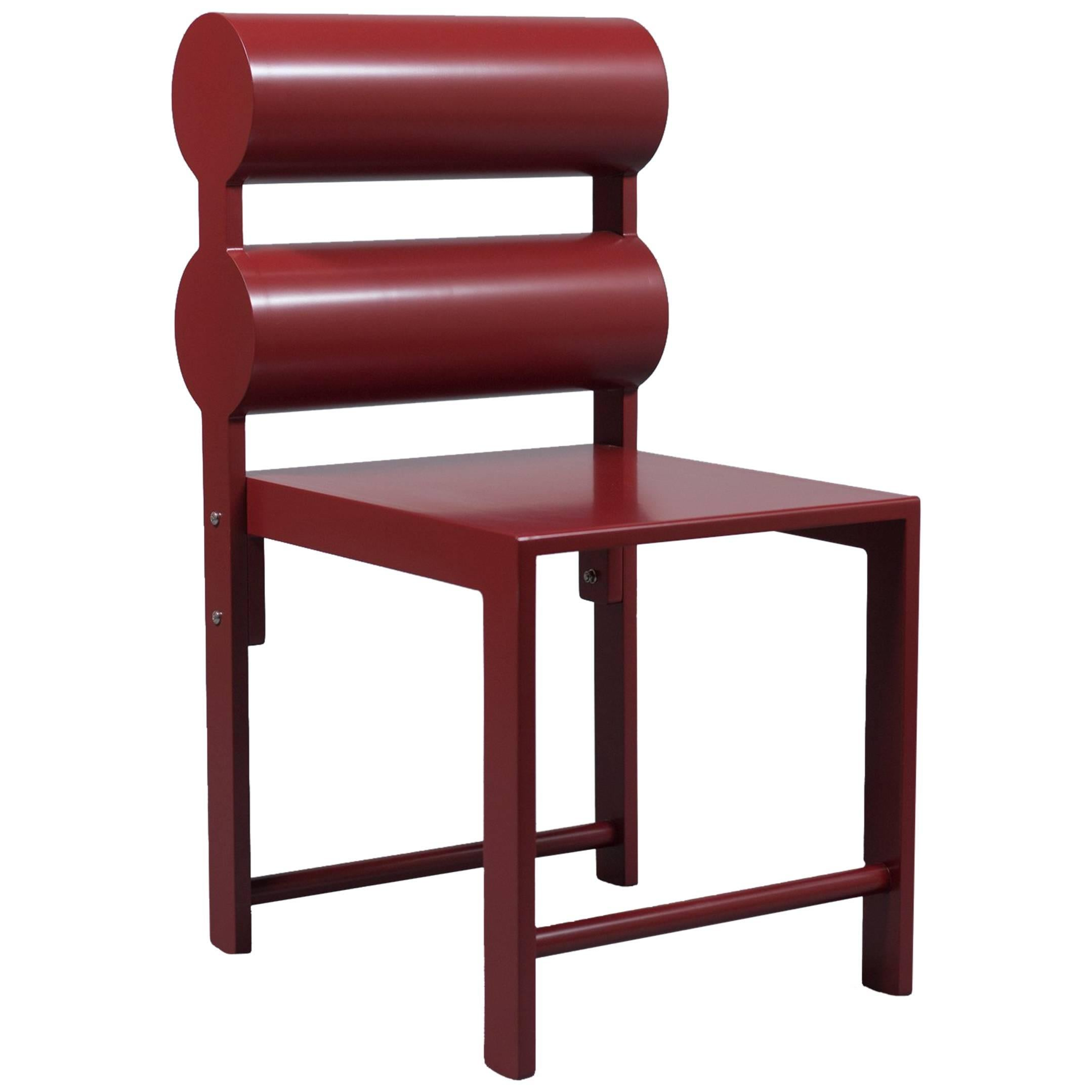 waka waka pompeii red lacquer double cylinder dining chair