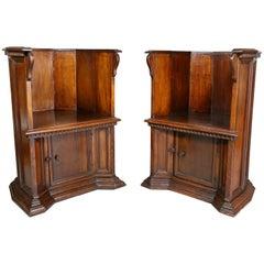Pair of Italian Renaissance Style Walnut Barrel Back Chairs