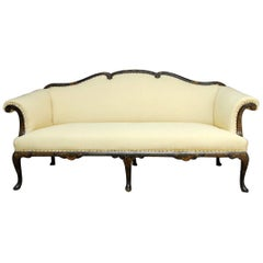 19th Century Chinese Chippendale Black Lacquer Chinoiserie Sofa