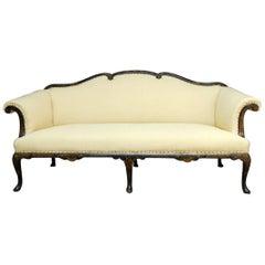 19. Jahrhundert, Chinesisches Chippendale Chinoiserie Sofa mit Schwarzem Lack