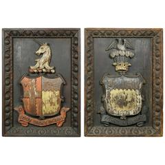 Two European Carved and Painted Oak Coats of Arms