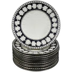 Set of 12 Wedgwood Queens Ware Silver Resist Pottery Dinner Plates