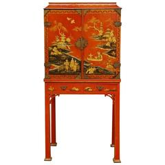 Chinese Chippendale Style Lacquered Cabinet on Stand