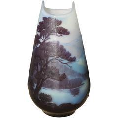 Emile Galle Alpine Scenic Lake Como Blue Cameo Vase