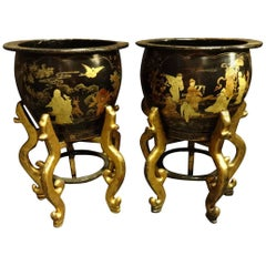 Magnificent Pair of early C20th Chinese Lacquered Planters, Jardineres on Stands