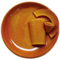 Ceramic Deconstructed Handthown Plate by Artist Michael Geertsen