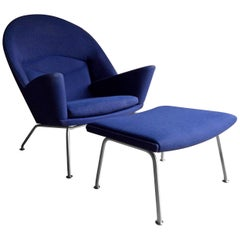 Hans Wegner Lounge Chair and Footstool Model 468 Oculus by Carl Hansen Blue No.2