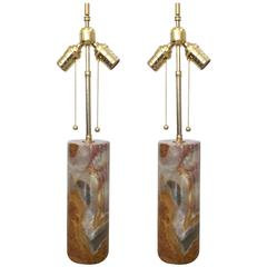 Pair of Quartz and Brass Table Lamps
