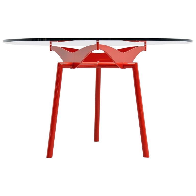 Industrial Round Dining Table in Prouve Perriand Style, 1960