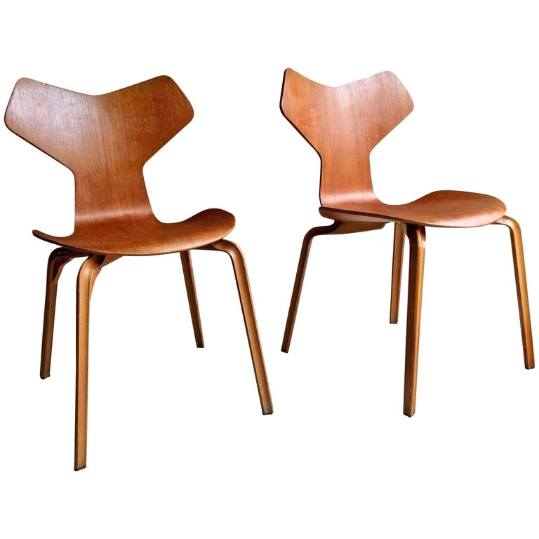 Arne Jacobsen Teak Grand Prix Chairs Pair Manufactured By