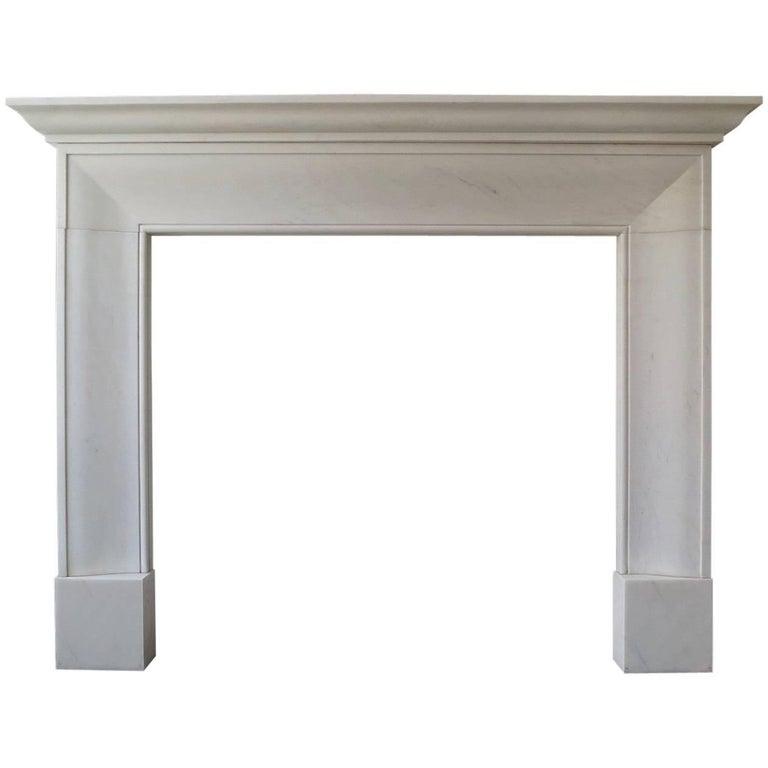 English Style White Marble Fireplace Mantle