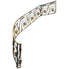 Early 20th Century Wrought Iron Hand-Forged Staircase Balustrade