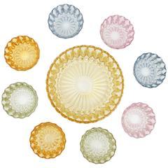 Vintage Pattern Pressed Glass Pastel Colors Dessert Dishes Set, Spain, 1960s