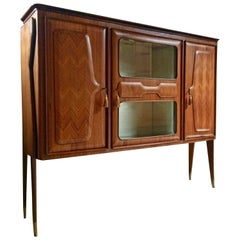 Italian Walnut Bar Cabinet by Vittorio Dassi Vintage, circa 1950s Mid-Century