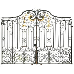 Pair of Impressive Antique Wrought Iron Driveway Gates