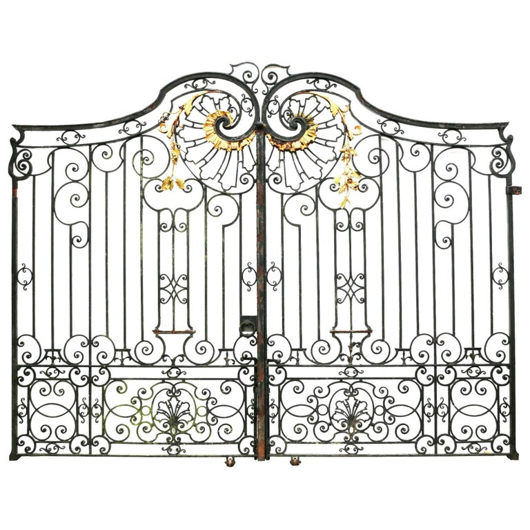 Pair of impressive antique wrought iron driveway gates for