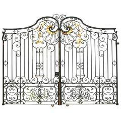 Pair of Impressive Antique Wrought Iron Driveway Gates
