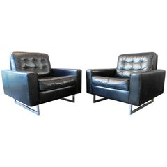 Pair of De Sede Black Leather Armchairs