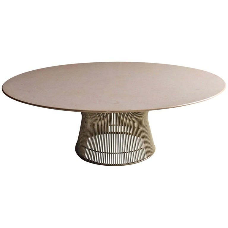 Warren platner marble and wire coffee table for knoll for Table warren platner