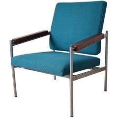 Danish Mid-Century Kay Bæch Hansen Chrome & Teak Lounge Chair For Fritz Hansen