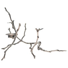 Nickel-Plated Cast Magnolia Twig T-Light Holder, Tall