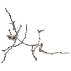 Vernickelter Teelichthalter, Gegossener Magnolien-Zweig, Groß