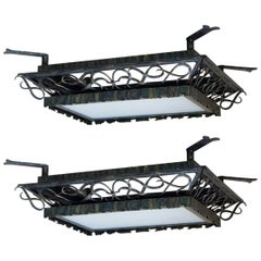 Pair of 1930s Art Deco Wrought Iron and Glass Ceiling Lights