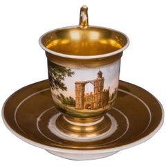 Rare Biedermeier Collectible Cup Veduten View, Gold Painted