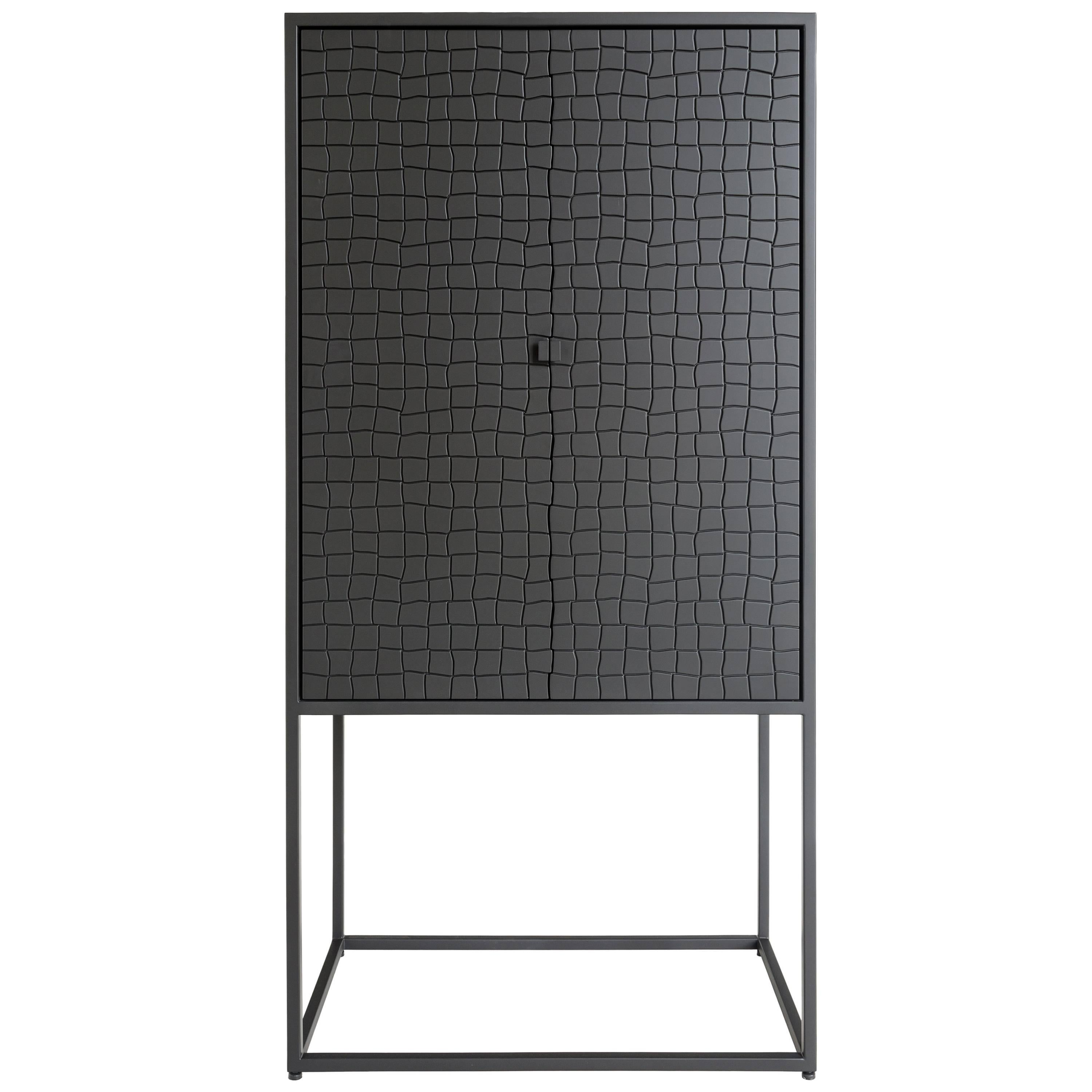 Basa Cabinet in Iron structure, interior in Peroba do Campo wood, lacquered MDF.