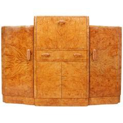 Art Deco Burr Maple Cocktail Sideboard