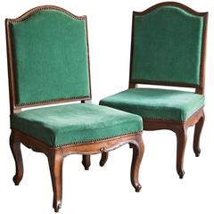 Pair of Louis XV Walnut Chairs with Shaped Backs, France, circa 1750