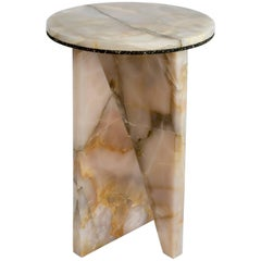 Light Pink Onyx Side Table by Jonathan Zawada, Made in USA