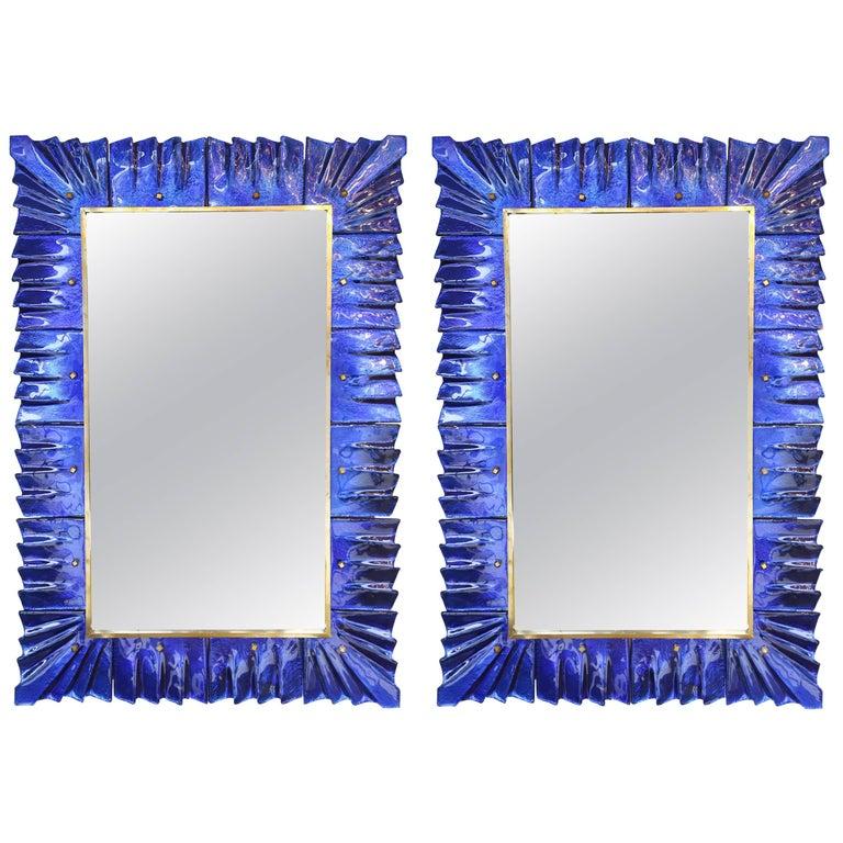 Modern Cobalt Blue Murano Glass Mirrors
