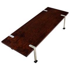 1960´s Coffee Table, Rio rosewood veneer, nickel plated steel - Italy