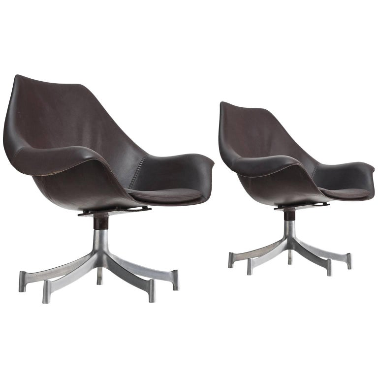 Strange Jorgen Lund And Ole Larsen Leather Swivel Bucket Chairs For Gmtry Best Dining Table And Chair Ideas Images Gmtryco