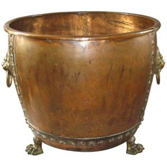 Monumental 19th Century Copper Log Holder or Jardiniere