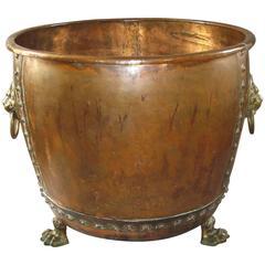 Monumental 19th Century Copper Log Basket / Jardiniere / Log Bin / Log Holder
