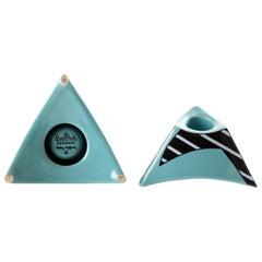 DOROTHY HAFNER für Rosenthal. Set Zweier Kerzenhalter von Memphis Ceramic