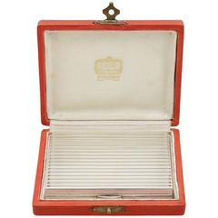 1940s, French Silver Mirror Compact by Cartier