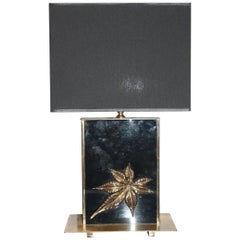 1960s Italian Brass and Black Glass Table Lamp