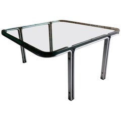 Horst Bruning Square Steel and Glass Coffee Table 1960s German Number 1